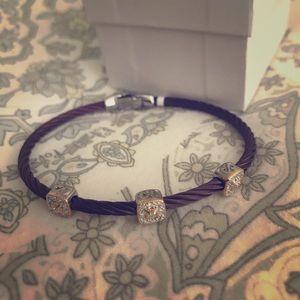 Burgundy and Diamonds in 18kt Gold Alor Bracelet